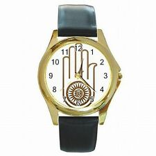 Ahimsa Hand Palm Jain Religion Vow Symbol Compassion Leather Watch New!