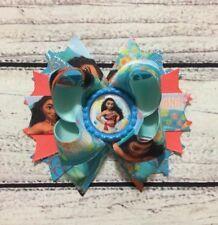 Handmade Blue ,Coral ,Aqua Moana Stacked Boutique Hair Bow