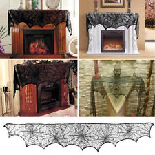 Halloween Lace Cobweb Fireplace Scarf Spiderweb Mantle Cover Party Home Decor #