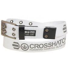 Crosshatch - Mode Homme Nylon Ceinture avec logo autour la ceinture - Blanc