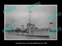 OLD LARGE HISTORIC PHOTO OF AUSTRALIAN NAVY SHIP HMAS SUCCESS c1950