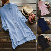 US STOCK Women Casual Long Sleeve Button Down Shirt Solid Loose Tops Blouse Tee