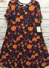 NEW LuLaRoe 3XL Carly Dress Yellow Orange Roses Hot Pink Blue Floral NWT! XXXL