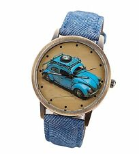 Free Gift Bag Ladies Mens Volkswagen Beetle Car Watch Faux Denim Blue Strap Xmas