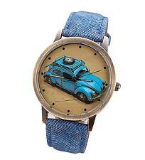 Free Gift Bag Ladies Mens Volkswagen Beetle Car Watch Faux Denim Blue Strap Xmas