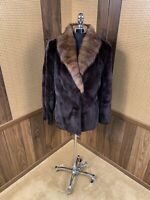 DARK BROWN ALMOST BLACK SHEARED MINK & RUSSIAN SABLE COLLAR FUR COAT JACKET 8-10
