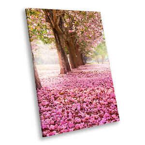 Portrait Scenic Photo Canvas Picture Print Wall Art Cherry Blossom Trees Pink