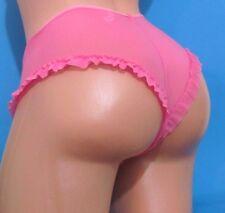 SELECT Pink  Nylon Sheer Sexy Mesh Ruffle Bikini Panties Sz S