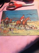 Vintage Small 49 Pieces Puzzle Horses W Riders A Dogs On A Hunt Great. Shape