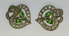 GREEN TSAVORITE & CZ DOUBLE HEART 925 STERLING SILVER WHITE GP FINE EARRINGS