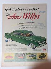 Original Print Ad 1952 AERO WILYS 35 Miles on a Gallon 2 Door Sedan Green