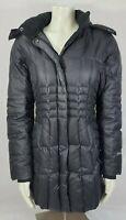 Eddie Bauer down fill puffer jacket faux fur removable hood winter parka black M