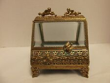 Vintage BEVEL GLASS ORMOLU JEWELRY BOX/CASKET - CHERUBS & BIRD FIGURES