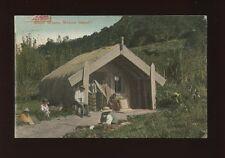 New Zealand MOKOIA ISLAND Maori Whare home c1900/10s? PPC Faults