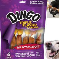 Dingo Dog Treats Triple Flavor Kabobs Rawhide Chews for Dogs Chicken Pork Beef