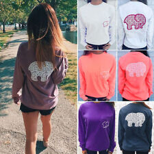 Womens Elephant Print T-shirt Blouse Long Sleeve Loose Pullover Jumper Tee Tops