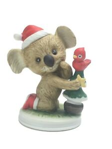 Vintage Lefton Hand Painted Christmas Koala W/ Tree and Cardinal