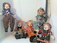 Vintage Circus Clown String Marionettes and a Lion on a Swing Porcelain Heads
