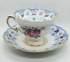 Rosina 4866 Pink blue rose gold Floral Bone China England Tea Cup & Saucer euc