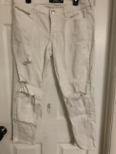 J. Womens Juniors Size 11 White Hollister Destroyed Jeans