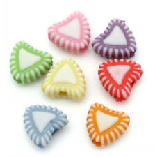 50 x Assorted Pastel Acrylic Heart Beads 7mm x 8mm Candy Plastic Jewellery Craft