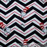 BonEful Fabric FQ Cotton B&W Black White Red Dr Seuss Cat in Hat Chevron Stripe