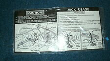 1974 1975 CHEVROLET CAPRICE CONVERTIBLE TRUNK JACK INSTRUCTIONS DECAL STICKER