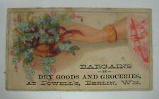 Vintage Antique DRY GOODS & GROCERIES Trade Card Advertising BERLIN, WISCONSIN