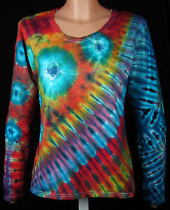 DAMEN T-Shirt Gr. S - 5XL langarm handgefärbt. Hippie Tie dye Batik Psy Goa NEU