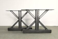 Metal Table Legs,Trestle,Industrial Clear Coated,Custom Sizes,Handmade In U.S.