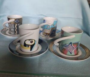 Rosenthal Cupola Espresso Sammel Tassen 4 Stück, Nr.1, Nr.7, Nr.32 und Nr.6.