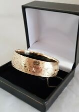 """Vintage 1/5  9ct Yellow Gold  """"Metal Core """" Cuff Bangle. """" D """" shaped domed top"""