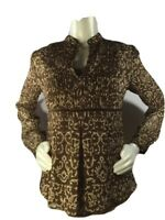 Apt 9 Tunic Boho Blouse Top Long Sleeve Brown Royal Paisley Print Size S Small