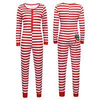 Womens Ladies Long Sleeve Jumpsuit Playsuit Nightwear Homewear Striped Long Suit