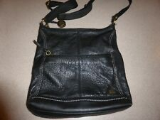 The Sak Black Leather Crossbory Bag Handbag Purse Satchel Hobo Zip Shoulder
