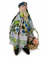 """NEW Handmade Collectible Tilda Bunny """"Girl rabbit with basket"""", OOAK dolls ~ 17"""""""