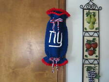Handmade Crochet Multi-Colored NFL Sports  New York Giants Plastic Bag Holder