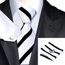 Mens Black White Stripes Geometrical Motif Tie+Hanky Cufflinks Matching Set 163