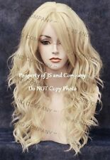 Heat Friendly Long Wavy Curly side Skin Part  Pale Blonde Wig wd 613