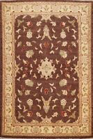 Floral Dark Brown/ Ivory Peshawar Oriental Area Rug Hand-knotted Wool Carpet 5x6