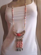 Modekette Bettelkette Damen Hals Kette lang Silber Rot Ethno Ibiza Boho A732