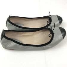Women's Bloch Two Tone Flats Leather Shoe Gray Black Sz 7.5 Or 38 (sws1)