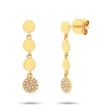 0.11 CT 14K Yellow Gold Diamond Pave Multi Circles Drop Dangling Earring