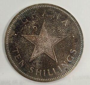1958 Ghana 10 Shillings Silver Star Coin Purple Blue Toned OGP Original Box