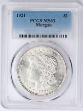 1921 Morgan Silver Dollar $1 PCGS MS63 Bright White!