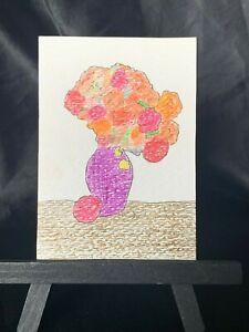 ACEO Original Flower Vase Medium Black Ink Marker & Prismacolor on Paper Signed