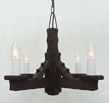 TW/4 - Traditional Rustic Wooden 4 Light Ceiling Light Wood Pendant Light