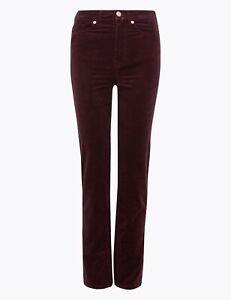 Ex M&S Fine Corduroy Straight Leg Trousers 10 Colours Sizes 6-22 Cords (12)