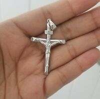 Men 14k White Gold Jesus Christ Crucifix Cross Charm Pendant