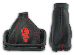 FOR ALFA ROMEO 159 GEAR BOOT + HANDBRAKE GAITER LEATHER EMBROIDERY LOGO RED